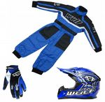 Wulfsport Kids MX Set Blue Helmet Suit & Gloves